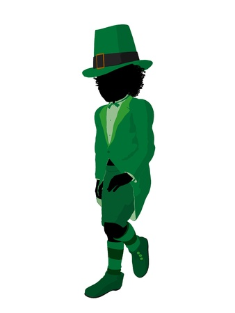 lass: African american leprechaun girl silhouette on a white background