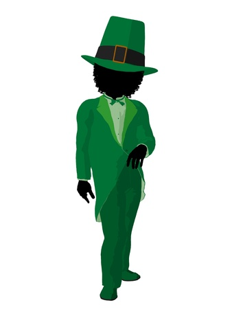 African american leprechaun girl silhouette on a white background photo