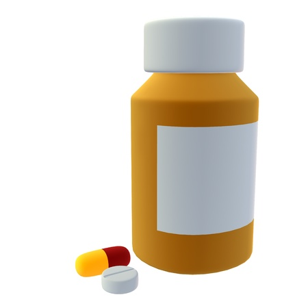 injections: Bottle of pills on a white background Stock Photo