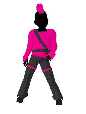 Punker girl illustration silhouette on a white background