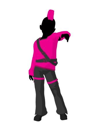gal: Punker girl illustration silhouette on a white background