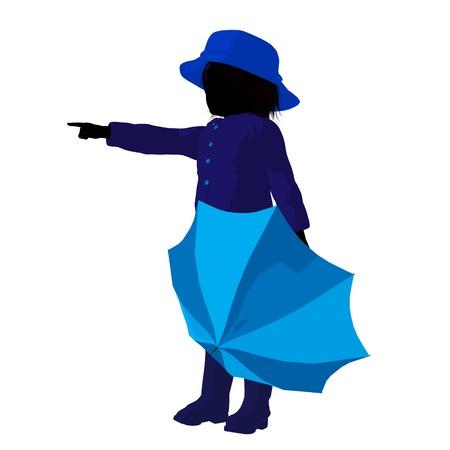 april showers: Rain boy illustration silhouette on a white background Stock Photo