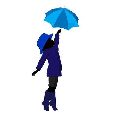 children silhouettes: Rain boy illustration silhouette on a white background Stock Photo