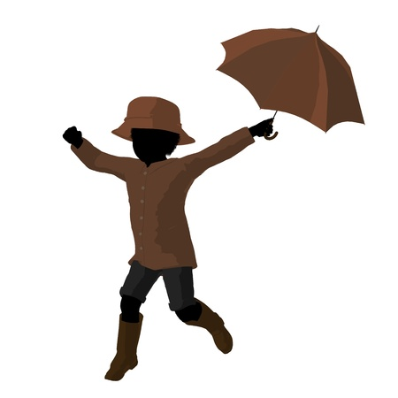 African american rain boy illustration silhouette on a white background