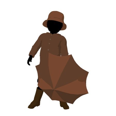 april showers: African american rain boy illustration silhouette on a white background