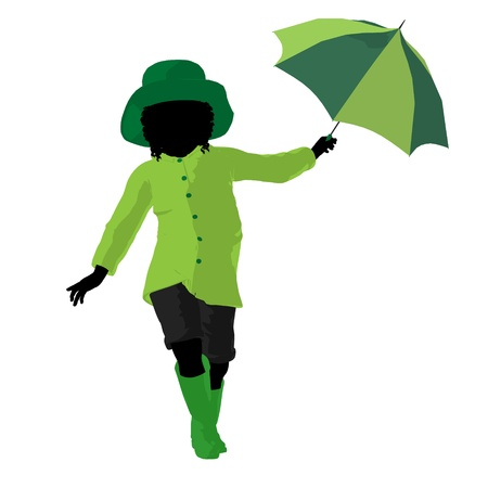 april showers: African american rain girl illustration silhouette on a white background