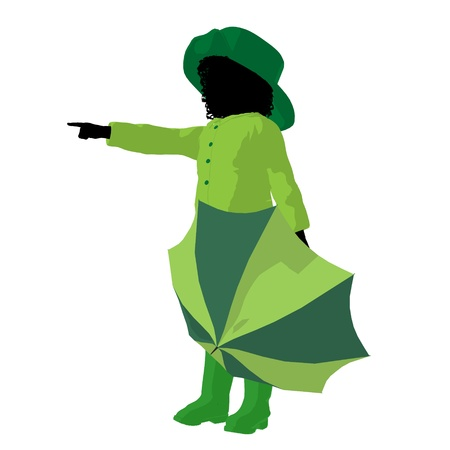 African american rain girl illustration silhouette on a white background