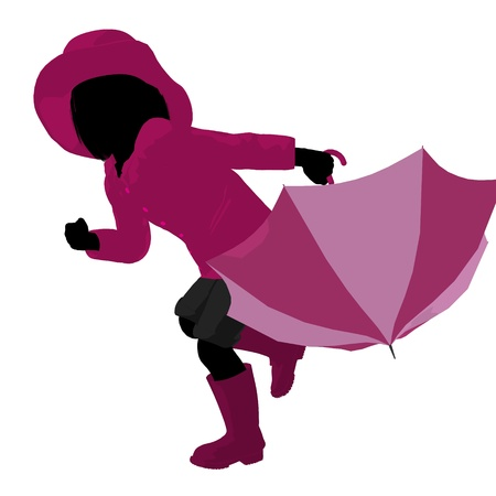 april showers: Rain girl illustration silhouette on a white background