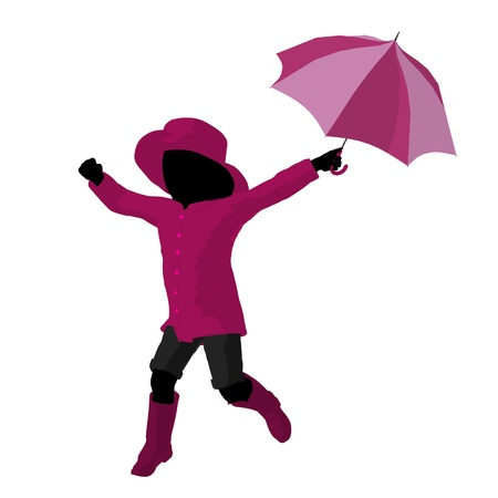 Rain girl illustration silhouette on a white background