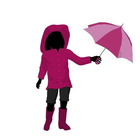 Rain girl illustration silhouette on a white background illustration