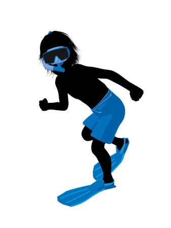 Boy snorkel illustration silhouette on a white background
