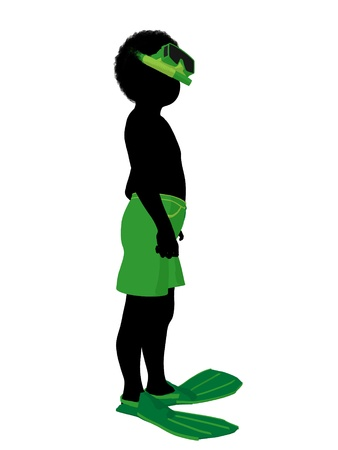 African american boy snorkel illustration silhouette on a white background