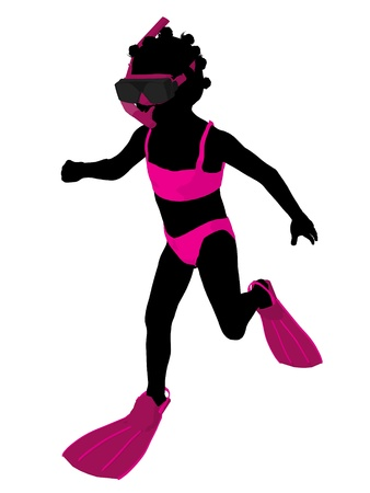 African american girl snorkel illustration silhouette on a white background