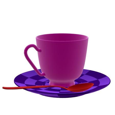 alice au pays des merveilles: Tasse � th� 3D sur un fond blanc