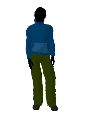 silhoette: Urban male dressed in casual clothes on a white background