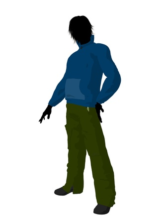 cargo pants: Urban male dressed in casual clothes on a white background