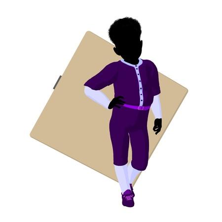 diamond plate: African american teen baseball player with a baseball diamond on a white background