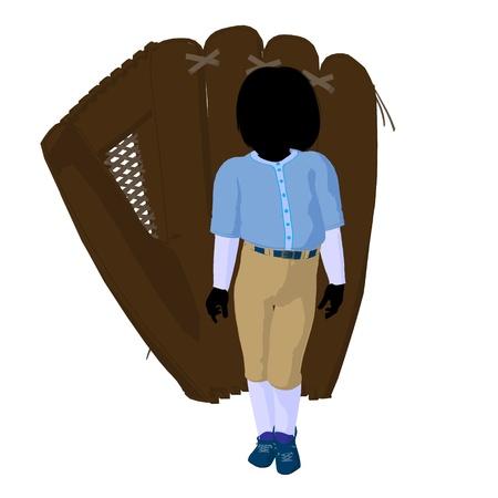 guante beisbol: Jugador de b�isbol juvenil con un guante de b�isbol sobre un fondo blanco Foto de archivo