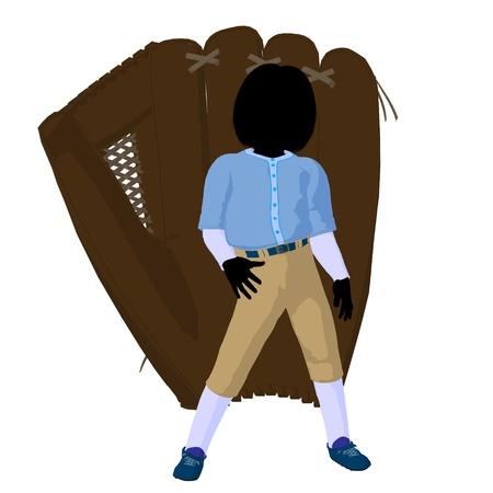 gant de baseball: Joueur de baseball Teen avec un gant de baseball sur un fond blanc