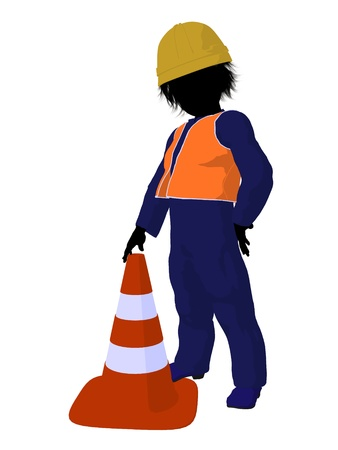 prefabrication: Teen construction worker with a construction cone on a white background Stock Photo