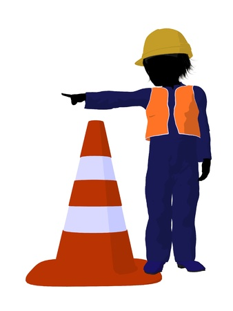 disposition: Teen construction worker with a construction cone on a white background Stock Photo