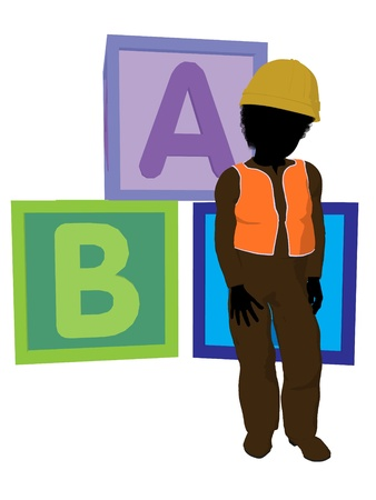 disposition: African american teen construction worker with a construction blocks on a white background