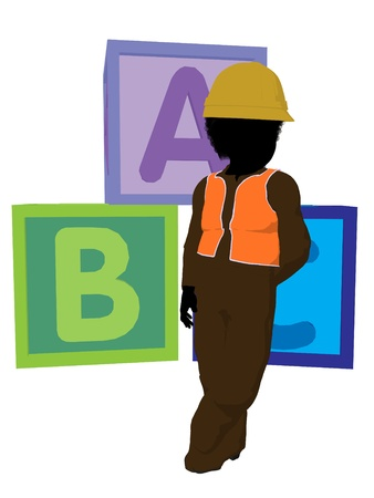 prefabrication: African american teen construction worker with a construction blocks on a white background