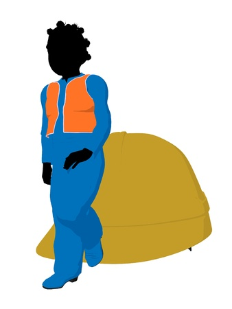 disposition: African american teen construction worker with a hard hat on a white background Stock Photo