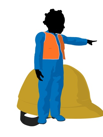 prefabrication: African american teen construction worker with a hard hat on a white background Stock Photo