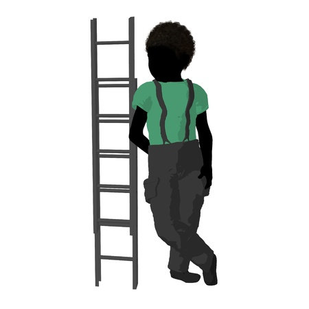 African American Teen firefighter with a fire ladder on a white background