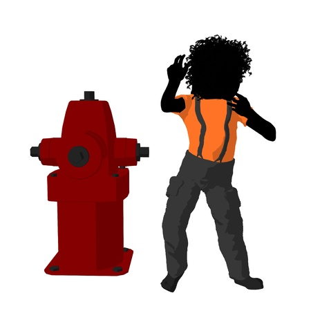 African american teen firefighter with a fire hydrant on a white background