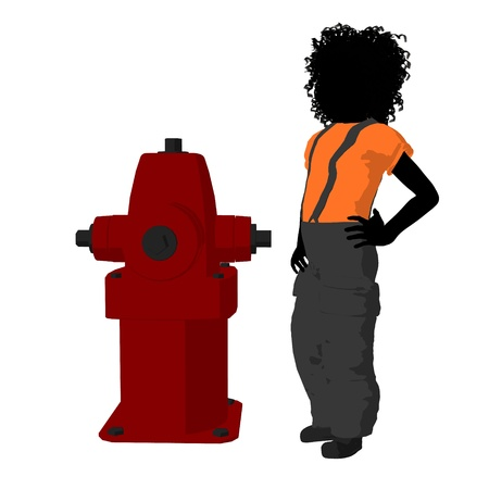 african american silhouette: African american teen firefighter with a fire hydrant on a white background