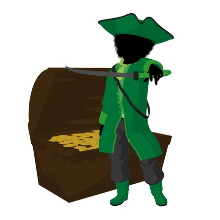opportunist: An african american teen pirate with a treasure chest on a white background