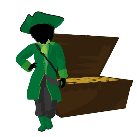 marauder: An african american teen pirate with a treasure chest on a white background