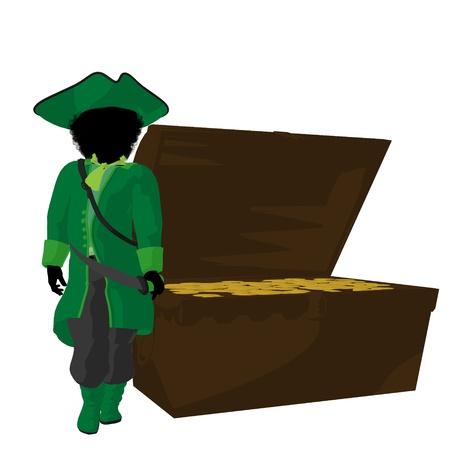 Een Afro-Amerikaanse tiener piraat, die een schatborst op een witte achtergrond