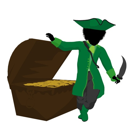 wanderer: An african american teen pirate with a treasure chest on a white background