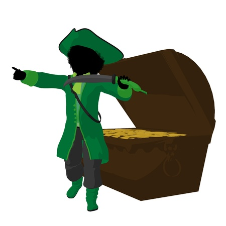 swashbuckler: An african american teen pirate with a treasure chest on a white background