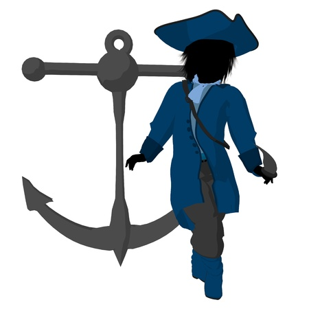 wanderer: A teen pirate with an anchor on a white background Stock Photo