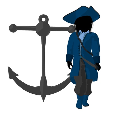 privateer: A teen pirate with an anchor on a white background Stock Photo