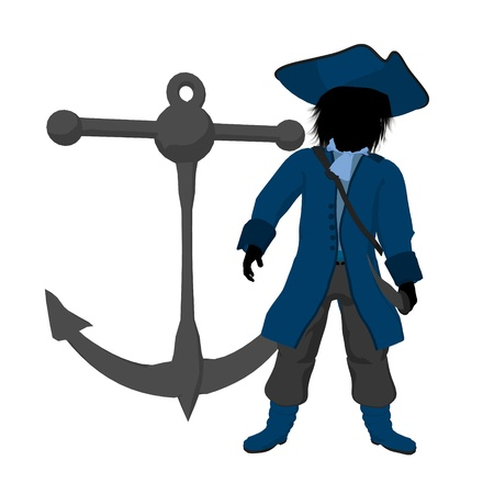 marauder: A teen pirate with an anchor on a white background Stock Photo