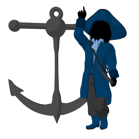 opportunist: A teen pirate with an anchor on a white background Stock Photo