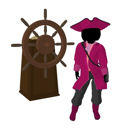 A teen pirate with a ship wheel on a white background photo