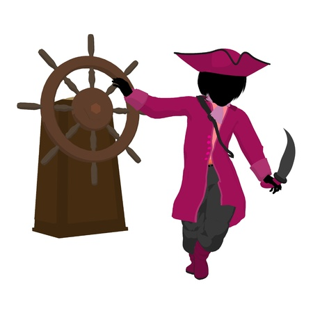 marauder: A teen pirate with a ship wheel on a white background