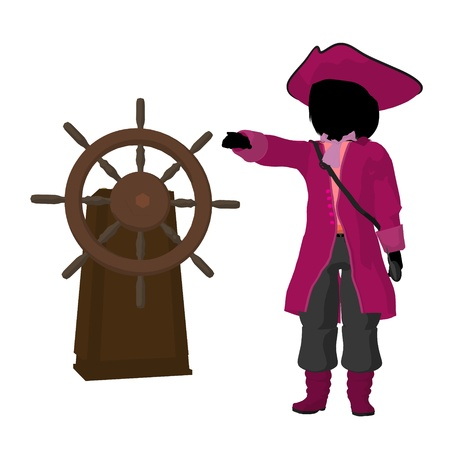 opportunist: A teen pirate with a ship wheel on a white background