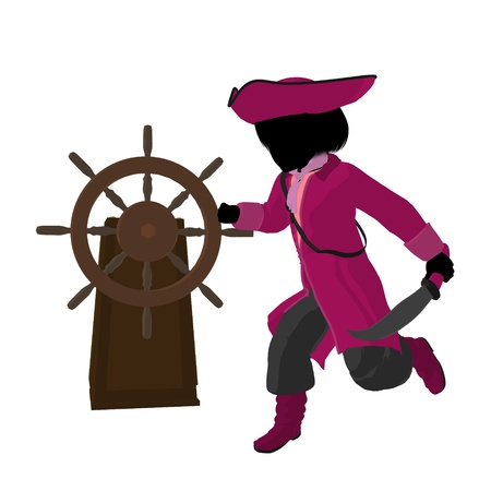 privateer: A teen pirate with a ship wheel on a white background