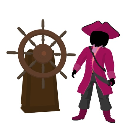 voyager: A teen pirate with a ship wheel on a white background