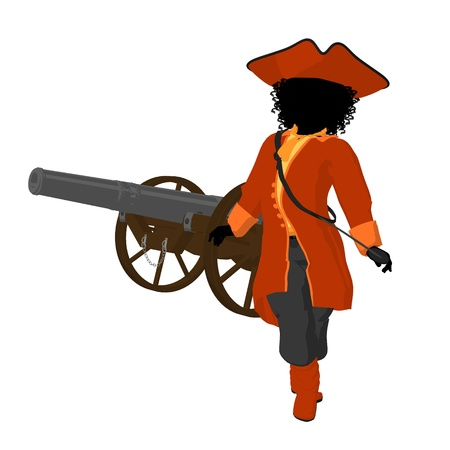 privateer: African american teen pirate with a cannon on a white background