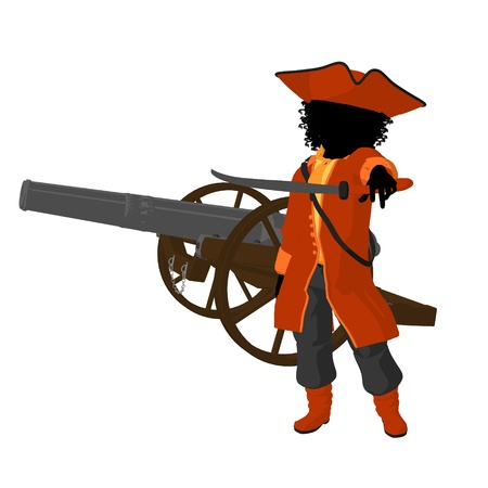opportunist: African american teen pirate with a cannon on a white background