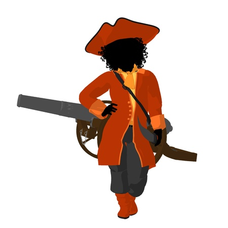 wanderer: African american teen pirate with a cannon on a white background