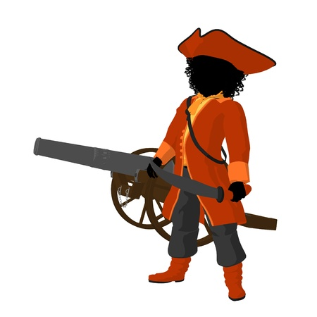 African american teen pirate with a cannon on a white background